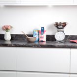 This black marble effect laminate worktop will add a sleek and stylish aesthetic to your kitchen.