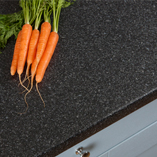 These black quartz laminate worktops are supplied with a 3mm post-formed edge profile that makes them an ideal choice in family homes.