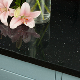 These black sparkle Andromeda square edge worktops are a low maintenance choice, requiring a simple wipe with a soft cloth and some warm soapy water to clean.