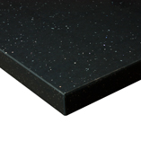 Black sparkle Andromeda worktops are also available with a square edge profile, providing a modern option for contemporary kitchens.