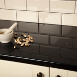 Our Black Sparkle worktops have a high-gloss finish to make your kitchen stand out.