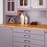 The use of bold colours with our deluxe oak worktop can create a wonderful effect in your kitchen.