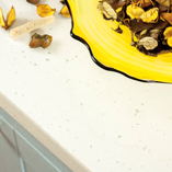 Create a bright, contemporary kitchen with our white sparkle square edge worktops.