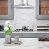 Both our Calcutta laminate worktops and matching splashback have been designed to accurately resemble real marble.