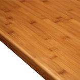 A caramel bamboo worktop with smooth pencil edge profile.