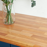 The finish of our cherry block effect surfaces has a slight sheen that perfectly imitates the look of oiled timber.