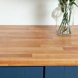 Our cherry-effect laminate worktops are low-maintenance and can be cleaned using a soft cloth and warm soapy water.