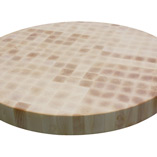 This circular maple end grain butchers block measures 720mm in diameter and is pictured before oiling.
