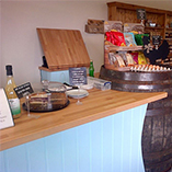Beech worktops in a farm shop.