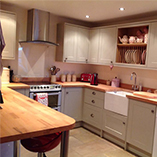 Beech worktops with an undermounted sink.