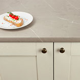 Our cream stone laminate worktops offer a realistic imitation of a marbled stone