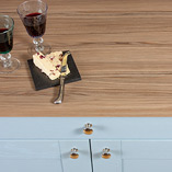 Cypress Cinnamon laminate worktops have a wood-effect finish and are made with an FSC Certified fibreboard core.