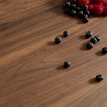 These dark walnut laminate worktops replicate the look of a full stave black American walnut worktop.
