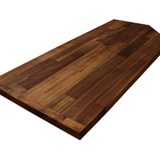 Deluxe black American walnut worktop with a 40mm end cap and two irregular cut outs.