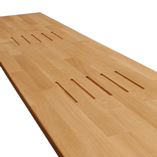 Deluxe Prime Oak Worktop with pencil edge profile and two sets of hotrod grooves.
