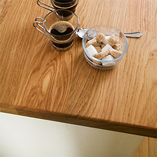 Deluxe Prime Oak worktops feature extra-wide 90mm staves that are chosen for their consistent grain pattern and colour.