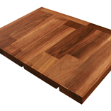 Deluxe Walnut worktop with 40mm endcap and butt join cut outs.
