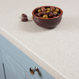Duropal's Glacial Storm laminate worktop is light in colour and has a mottled stone-effect appearance that looks superb in contemporary settings.