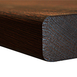 Wenge worktop with top and bottom pencil edge profiles.