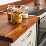 Each of our full stave black American walnut worktops is supplied with square edges a standard, but can be customised in almost any way thanks to our Wood Worktop Cutting Service.