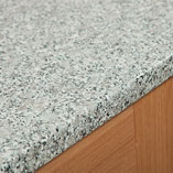 Like all of our laminate worktops, these laminate granite worktops are created from a sturdy core of composite wooden particle board, wrapped in a durable decorative laminate top layer.