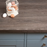 Our grey oak laminate worktops have an antique appearance that makes them perfectly suited to rustic kitchen settings.