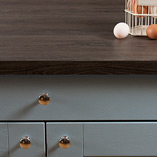 Our grey oak laminate worktops have a textured feel and are designed to replicate the look of full stave wooden work surfaces.