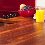 Iroko worktops appear almost iridescent when treated with a number of coats of Danish oil.