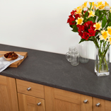 Our laminate worktops with a grey slate look are suitable for both modern and traditional design schemes.