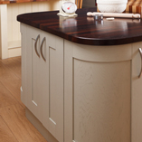 This large wenge worktop helps to create a expansive and beautiful kitchen island.