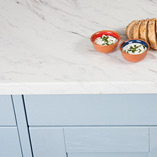 Our low-maintenance Calcutta Marble worktops feature a large-scale Italian marble design and can be accessorised with coordinating splashbacks.