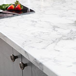 Add luxurious feel to your kitchen with this marble effect laminate worktop.