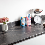 Megara marble laminate worktops are perfectly suited to contemporary kitchen settings.