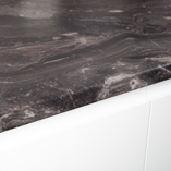 Megara marble laminate worktops work particularly well when combined with white cabinets.