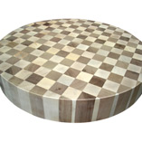 Maple and Walnut End Grain Circular Butcher Block - Unoiled.