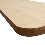 Maple worktop with 85mm radius corner.
