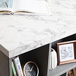 Our marble effect laminate worktops feature a gently rounded edge on the top and bottom profile.