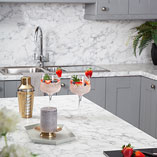 Calcutta marble laminate worktops are perfectly suited to both contemporary and traditional kitchen designs.