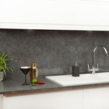 When paired with a matching splashback, this polished stone effect worktop makes a striking feature.