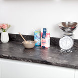 Megara marble laminate worktops are an affordable way to bring your kitchen up to date.