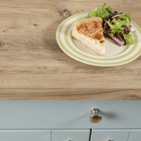 Our Mississippi Pine laminate worktops have a square edge profile that creates a chunky, industrial look.