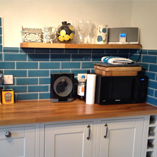 Our oak floating shelves are the perfect match for our standard oak worktops.