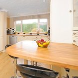 Oak worktops and oak worktop breakfast bar.