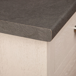A post-formed edge, like on this Grey Slate - Luna Nero worktop, provides a soft finish.