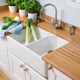 Using 90mm full stave prime oak alongside ceramic Belfast sinks is a great way of creating a traditional style kitchen.