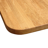Prime Oak worktop with 85mm radius corner and pencil top edge profile.