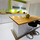 Prime Oak worktops and Prime Oak kitchen island.