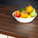 For a realistic look, these walnut block effect kitchen surfaces feature a varied grain pattern.