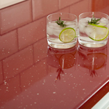 This red sparkle Andromeda laminate worktop has a lovely reflective quality that adds depth to your kitchen.