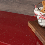 These red sparkle Andromeda laminate worktops are easy to clean and offer a low-maintenance choice for any home.
